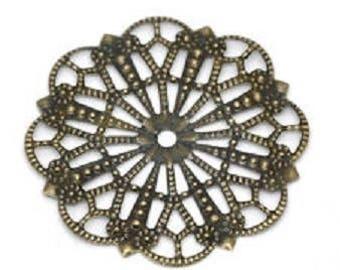 5 connectors openwork flower Bronze 41x41mm
