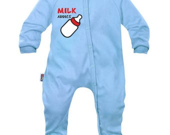 Funny baby Pajamas: milk addict (for boy and girl)
