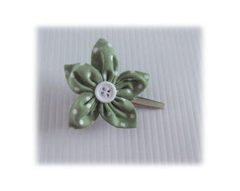 CROCODILE GREEN LILAC FLOWER HAIR CLIP HAS POLKA DOTS