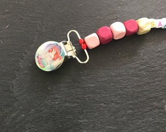 Pacifier clip bead wood and name
