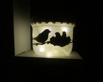 Lantern, tealights, LED night light, birds nest