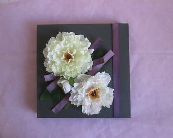 Painting 3D with artificial flowers, peonies, white, modern, floral, flower arrangement, wedding, gift