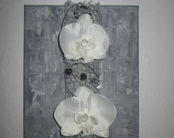 Table with artificial flowers, white orchids, 3D, floral, flower arrangement, wedding, gift
