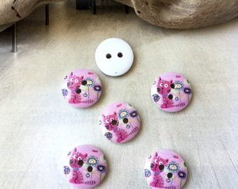 8 buttons 15 mm in painted wood, little cat pink (BG2)