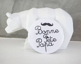 """Personalized badge for the fathers day, father's day.""""on white background and a mustache design"""
