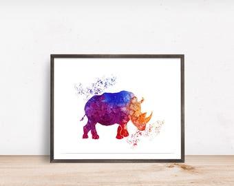 Nursery Print - Rhino Print - Rhino Decor - Watercolor Rhino Print - Rhino Print - Safari Nursery Decor - Instant Download - 8x12 8x10 12x16