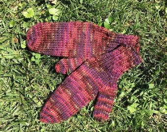 Handmade Knit Wool Mittens