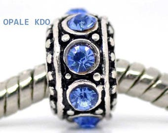 Silver and blue rhinestone European bead