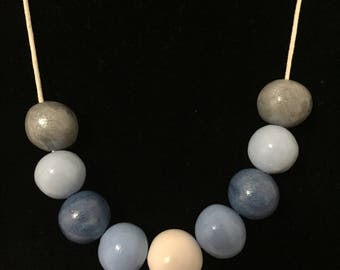 Handmade beads with blue  & white polymer clay necklace
