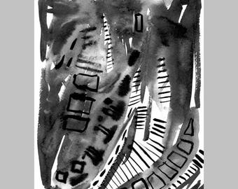 Abstract black and white original painting