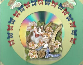 card 3D little cats in a wheelbarrow on cd