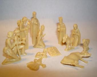 Vintage Miniature Nativity Figurines Three Wise Men Estate Find