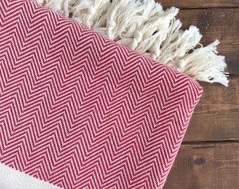 Ottoman Turkish Towel - Red Chevron