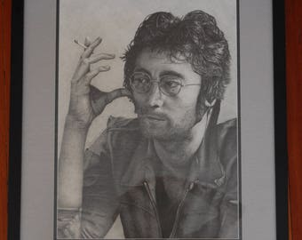 John Lennon Original Pencil Drawing, Framed Celebrity Art, Custom made, Matted and Framed Beatles Artwork, Graphite Sketch, Large Drawing
