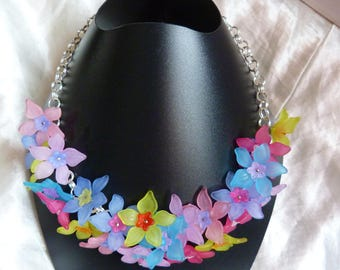 SPRING COLORED FLOWER BEADS NECKLACE