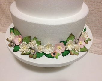 Handmade pink, white, and gray floral cake wrap