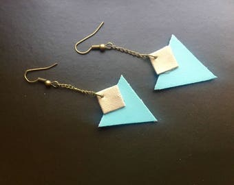 Triangular dangle earrings, green and gold faux leather