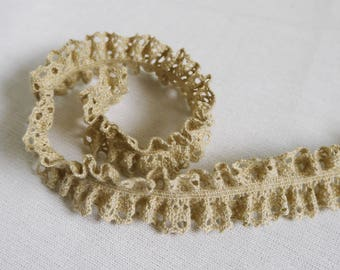Organic cotton Ribbon lace elastic khaki 24mm