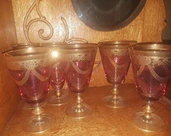 Antique Glasses Lot of 10 Antique Gold Trimmed Glasses