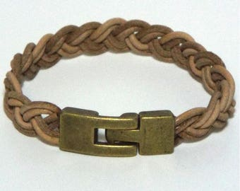 Natural Braided Leather Wristband Bracelet