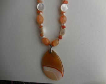 women heated agate Orange and Pearl Necklace