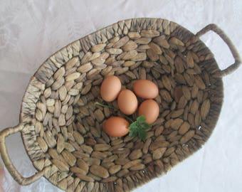 Antique wicker basket, Country kitchen, Basket of cornflakes, Wicker corn bowl, Farmhouse decor, Old basket, Handmade basket, Cottage