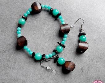 Set bracelet and earrings in Amazonite