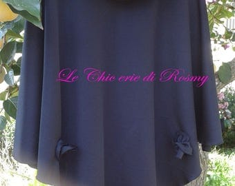 Black Cape with collar and fabric roses