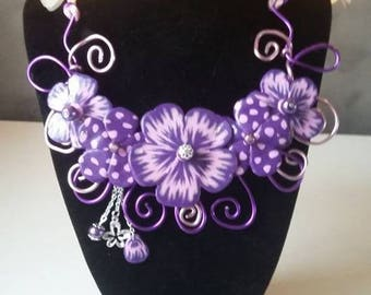 """necklace """"mim"""" iK """"Purple and pink"""