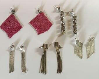Lot of 5 1970's 1980's Disco earrings