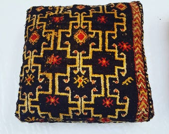 Black Geometric Vintage Boujaad Pouf