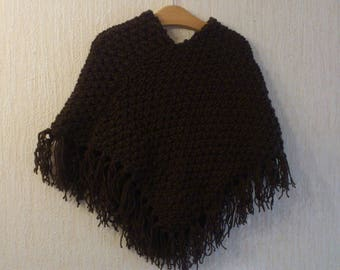 Brown 4 hand-knitted poncho with fringe