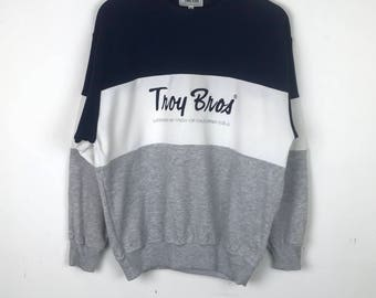 Vintage!!! Troy Bros Sweatshirt Pullover Spellout Embroidery Multicolors