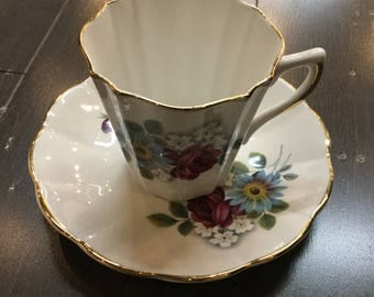 Letton Bone China Teacup with blue and purple flowers