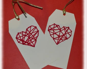"Set of 5 gift tags ""Heart"" yarn embroidery"