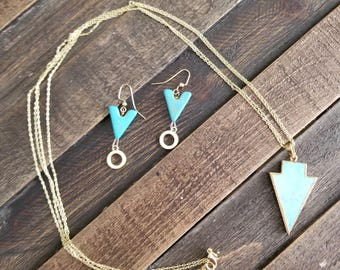 Turquoise Arrow Earring & Necklace Combination
