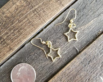 Gold Star Shaped Earrings