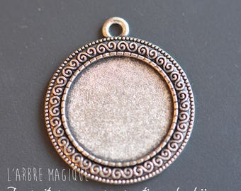 1 cabochon 25 mm silver round pendant