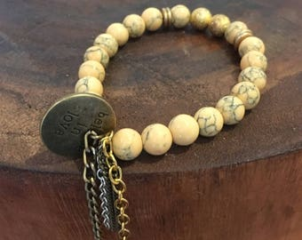 Yellow magnesite jade beaded bracelet