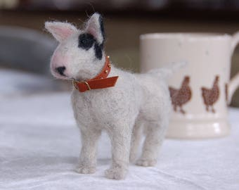 Needle felted Dog, English Bull Terrier handmade by TheHeartfeltHound