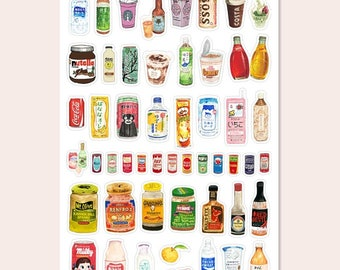 Classic drinks and food snacks decorative stickers!
