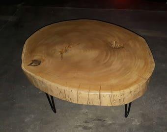 Natural eukalyptus wood coffee table