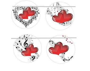 16mm, 4 heart and music cabochons