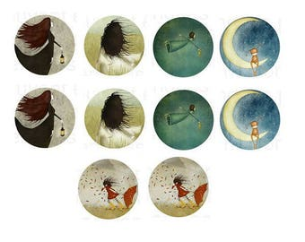"25mm, 5 cabochons ""dreamers"" worst"