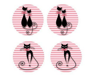 black cats on stripes 4 cabochons, 20mm