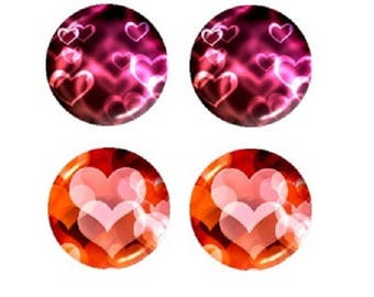 16mm, 2 pairs of hearts cabochons