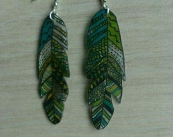 Blue, green and yellow feather earrings