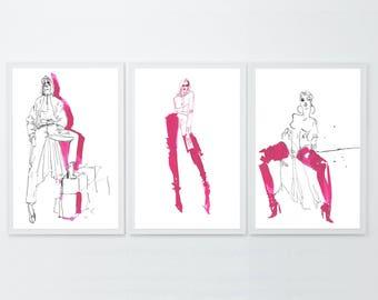 Vetements fashion illustration, Set of 3, Print art, Watercolor illustration, Watercolor painting, Original artwork, Pink wall art