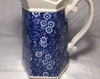 Blue and White Floral Print Ceramic Pitcher
