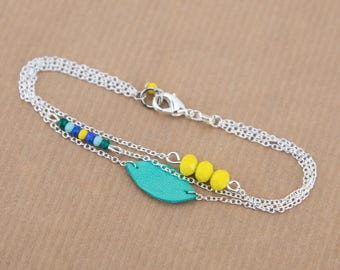 Green blue yellow silver plated bracelet #1436